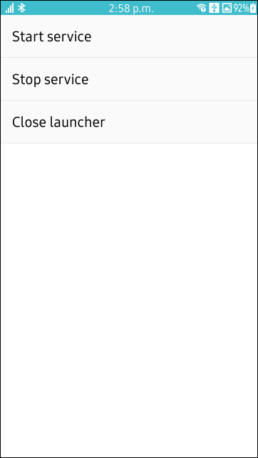 Screenshot of the My Service Launcher application ran on a Tizen mobile device.