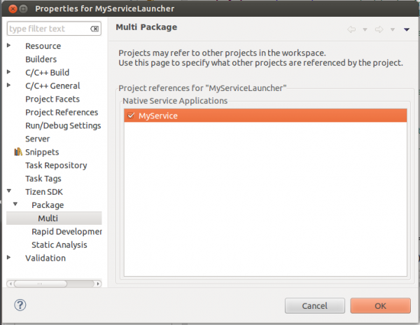 Combining MyServiceLauncher and MyService into one package