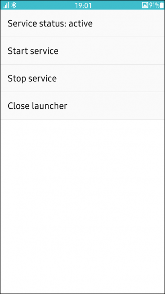 The My Service Launcher UI application with added information on the service status.