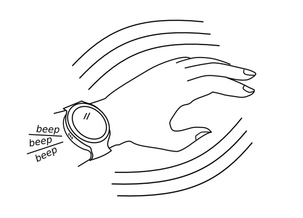 The sound is played when a user shakes the smartwatch