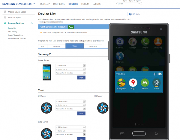 Samsung Z is now available in Remote Test Lab!
