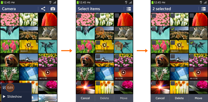 Multi-selection in the grid view