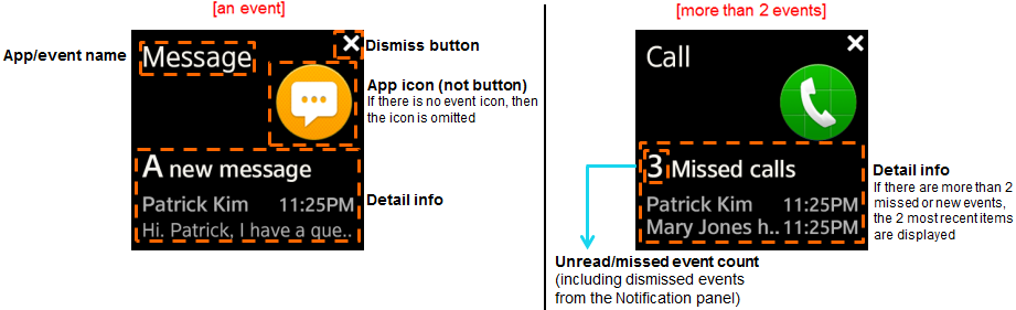 Example layout for event notifications