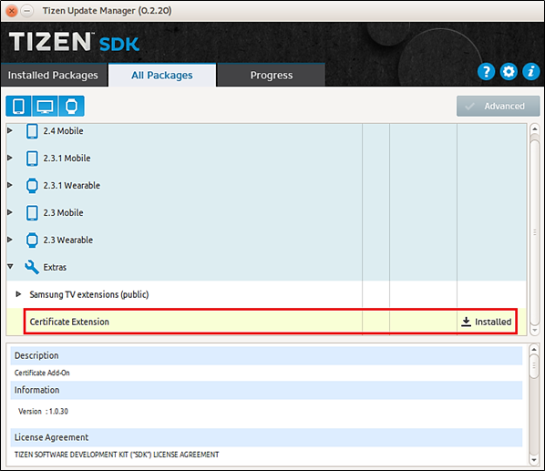 Issuing A Tizen Certificate From Certificate Extension Ver 12