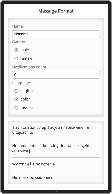 Message Format screenshot