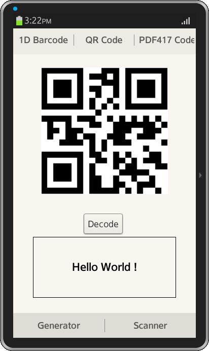 barcode generator and scanner tizen developers