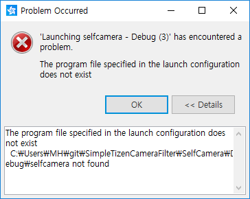 Problems when build and run a project | Tizen Developers