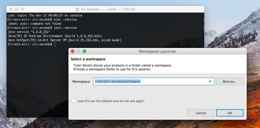 Tizen studio 2 0 is not working on macOS Sierra | Tizen Developers