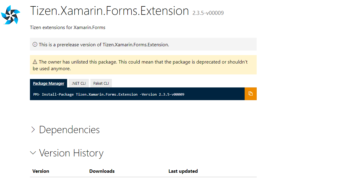 Where to find Tizen Xamarin Forms Extension library | Tizen