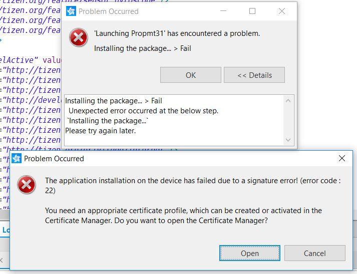 Error loading app into emulator with Signature Error (error